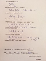 TKさん82歳女性愛知県常滑市(腰痛・左ヒザ痛)直筆メッセージ